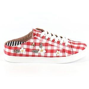 Betsey Johnson Edna Red Gingham Sneakers